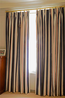 Pleat Curtains Pelmet And Armchair And Made To Mesure Wooden Blinds